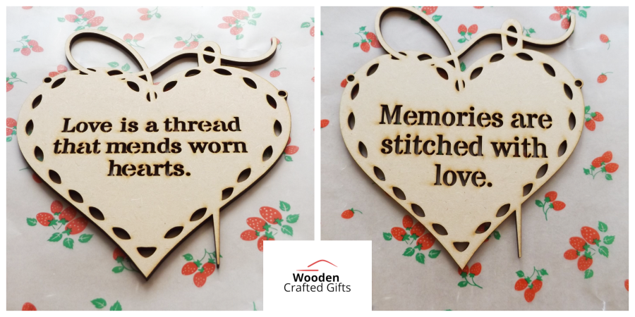 Hanging Hearts Pack Of 2 - Love is a thread that mends worn hearts, Memories are stitched with love