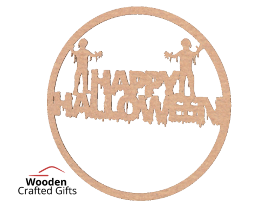 Happy Halloween Hoop With Zombies - Please select the size you require for correct price