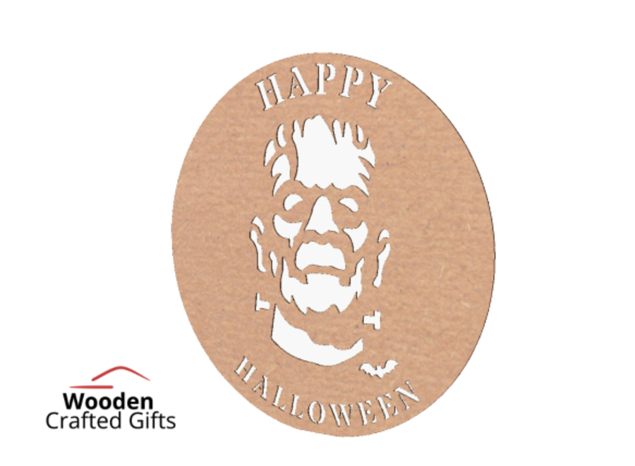 Happy Halloween Hoop With Frankenstein - Please select the size you require for correct price