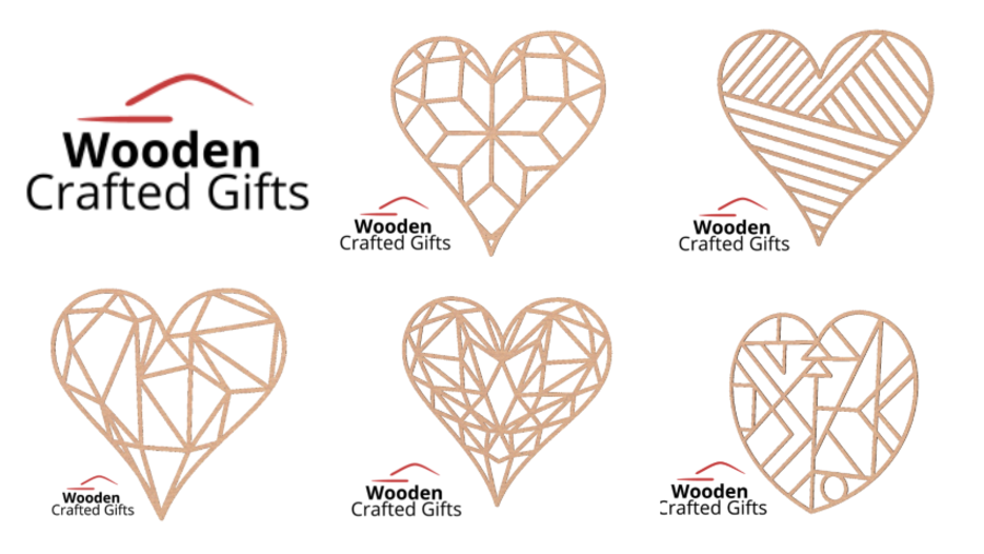 Geometric Hearts - 5 Designs Available - 30cm