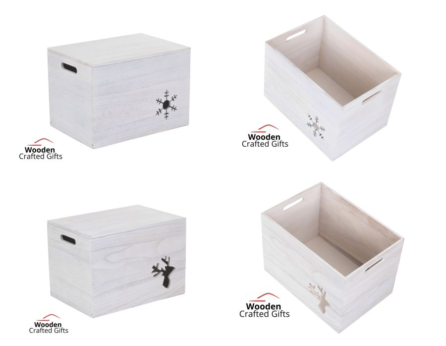 White washed - Wooden Box With Shape Cut Out   - 2 Designs Available - Comes with a FREE Vinyl
