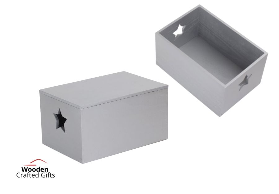 Star Cut-out Wooden Box - Silver
