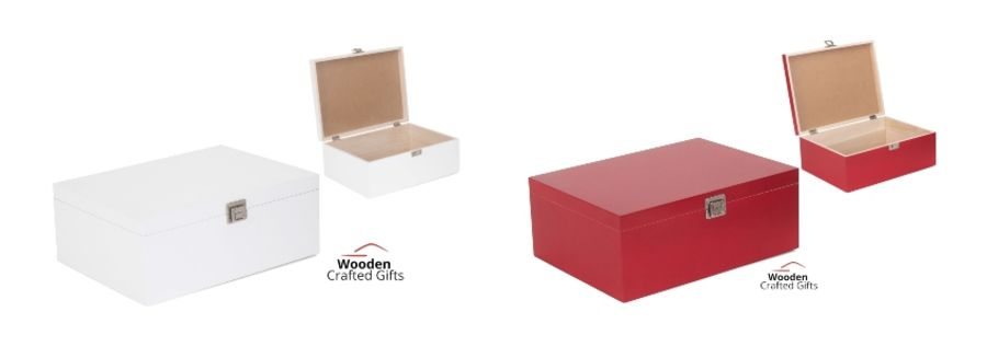 Wooden Box - 36cm x 27cm x 14.5cm - Red Or White Available - FREE Vinyl Wording Included
