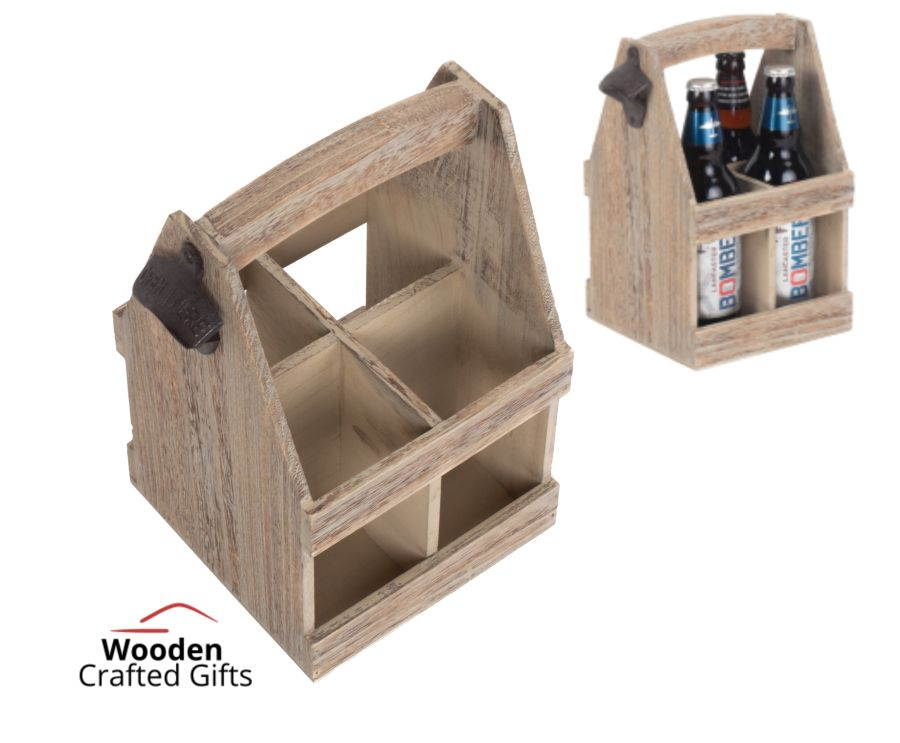 4 Beer Bottle Carrier With Bottle Opener - Oak Effect
