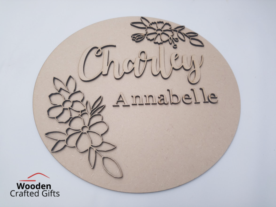 Layered  Flower + Name Plaque