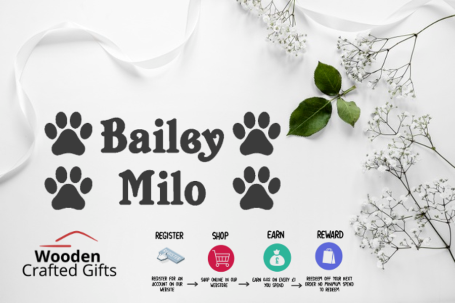 Personalised Pet Name Decal With x2 Paw Decals