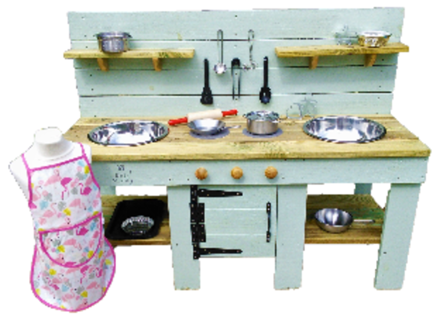 DragonFly Mud Kitchen with Oven in Olive Green  - Bee Muddy Mud Kitchens