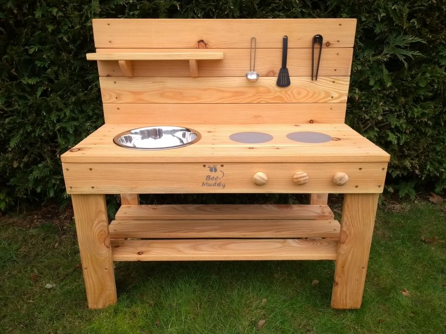 Ladybird Mud Kitchen in Wood Oil (also available with oven)
