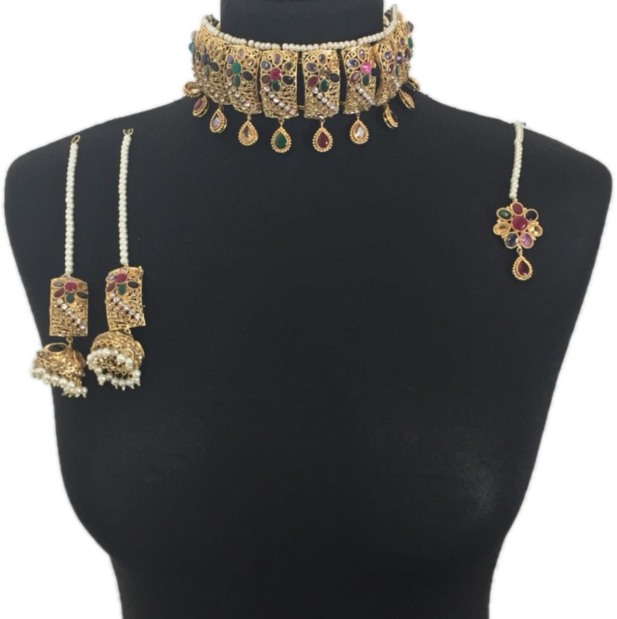 mehendi multicoloured pakistani choker set BRD0322
