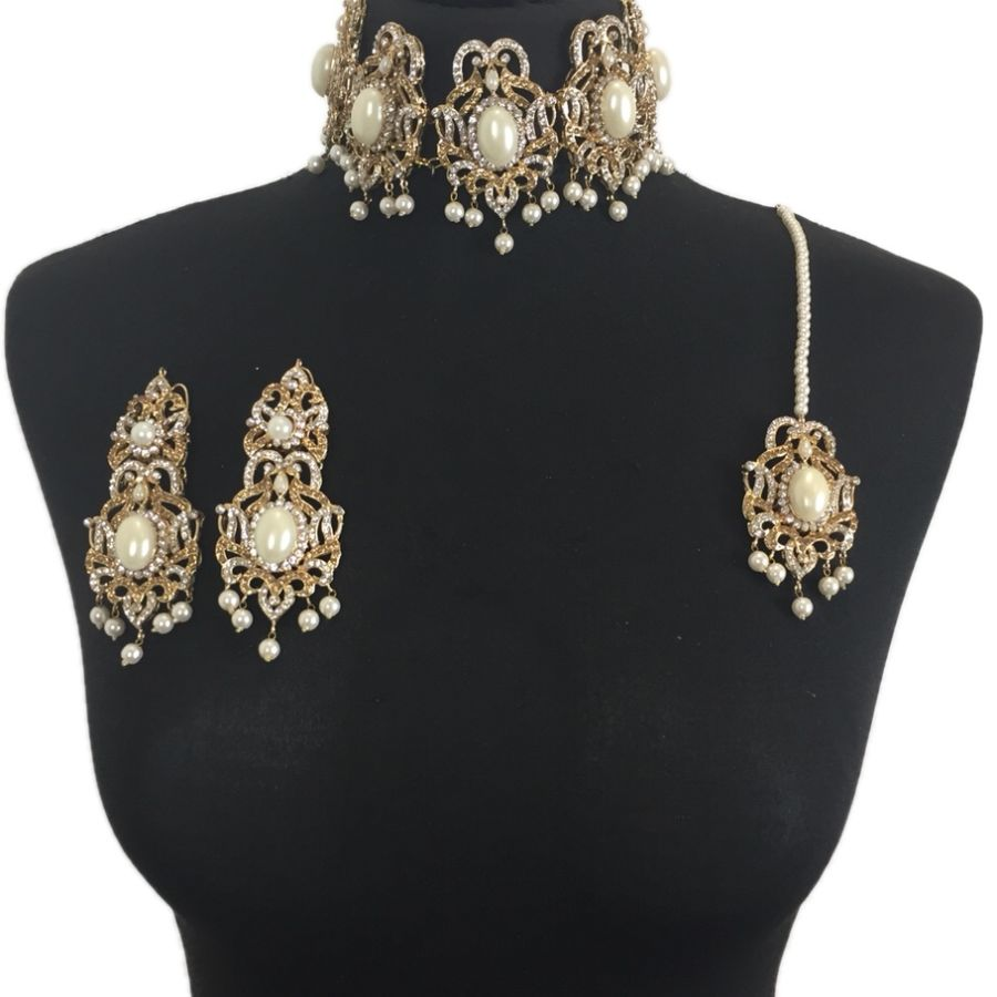 pearl pakistani choker necklace set NCK0320