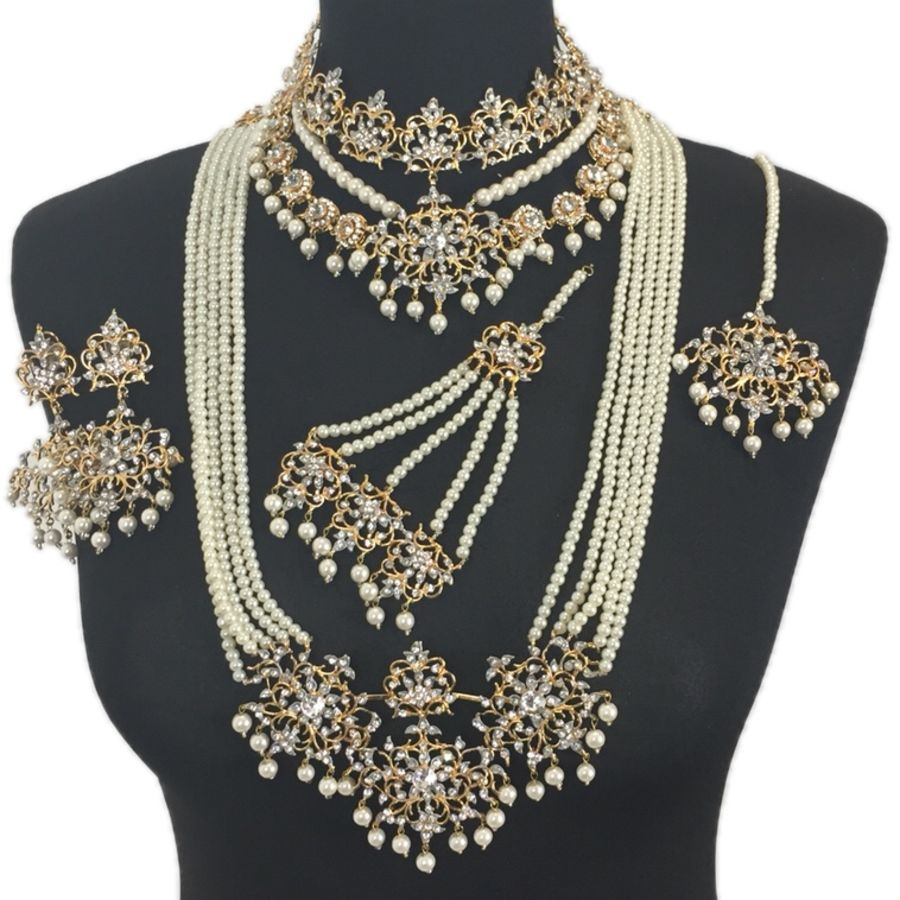pearls and golden pakistani bridal mala jewellery set BRD0323