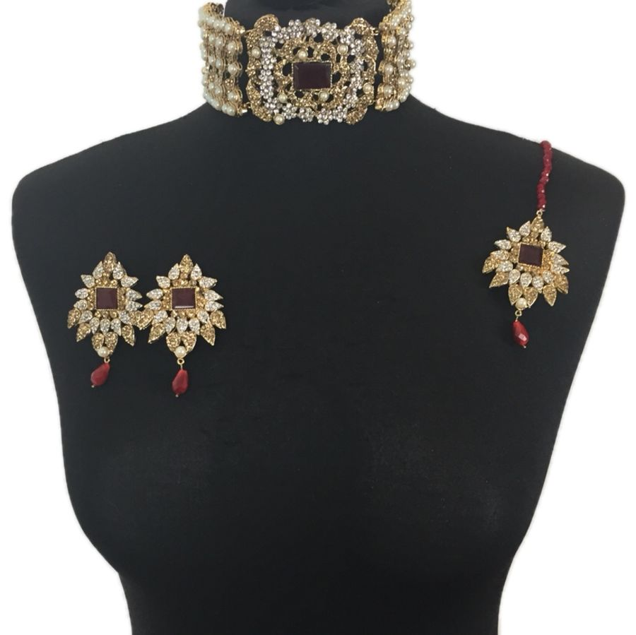 maroon and pearl pakistani choker necklace set NCK0323