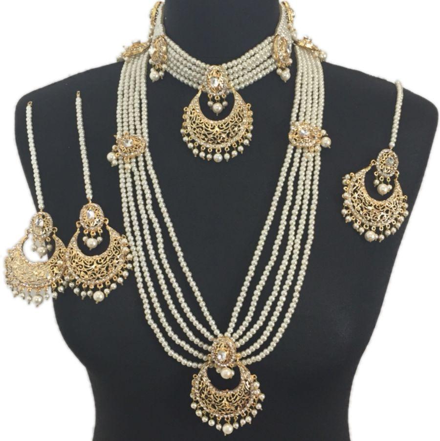 pearl golden pakistani bridal jewellery set BRD0327