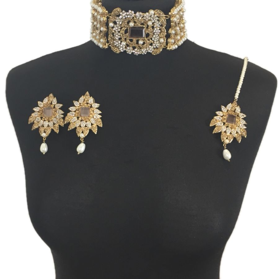 golden and pearl pakistani jewellery set NCK0325