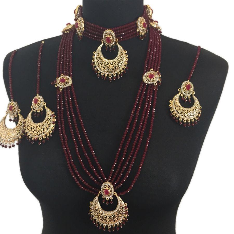 maroon and golden pakistani bridal jewellery set BRD0330