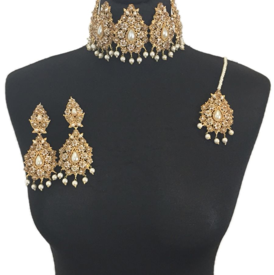 golden and pearl pakistani jewellery set NCK0328