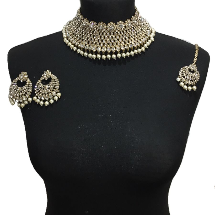 pearl indian collar necklace set NCK0362