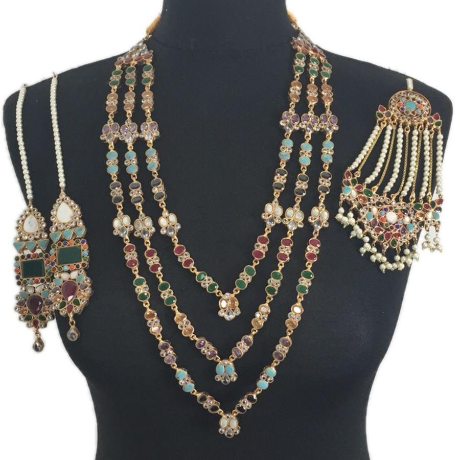 multicoloured gem stones mala necklace set BRD0405