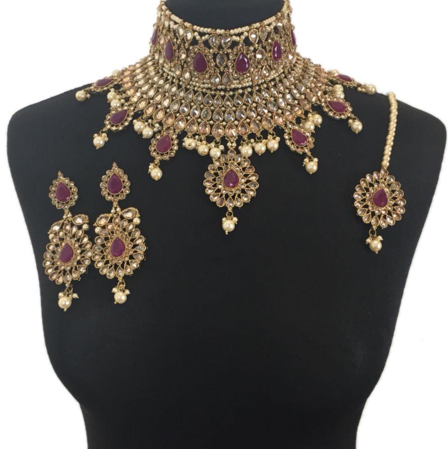asian maroon bridal jewellery set BRD0332