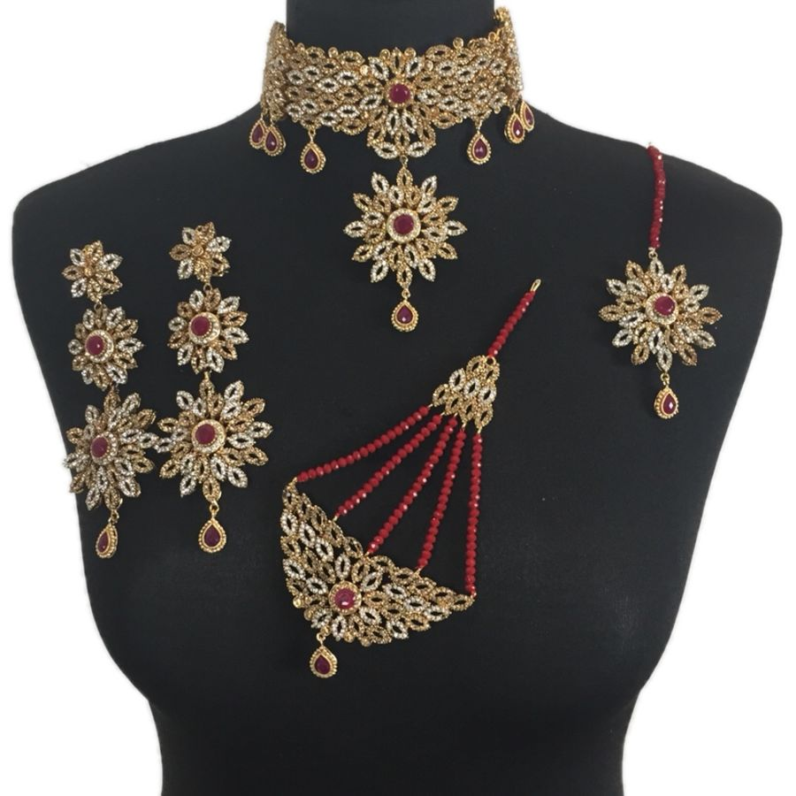 maroon pakistani bridal jewellery set BRD0335