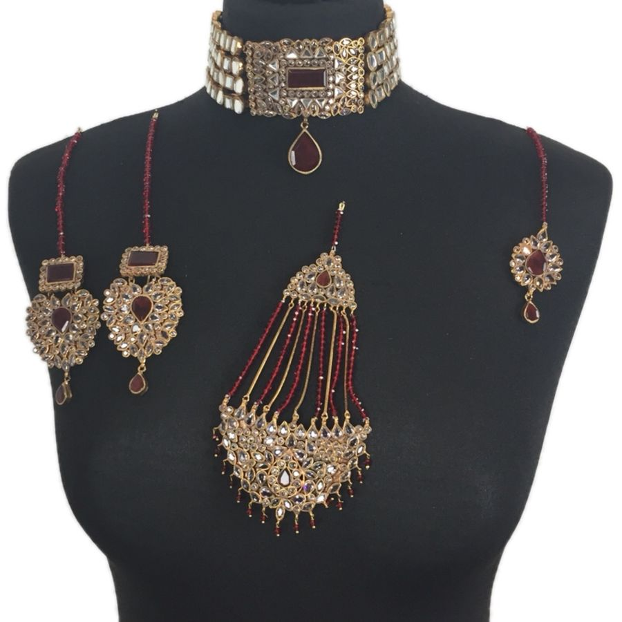 maroon kundan bridal jewellery set BRD0340