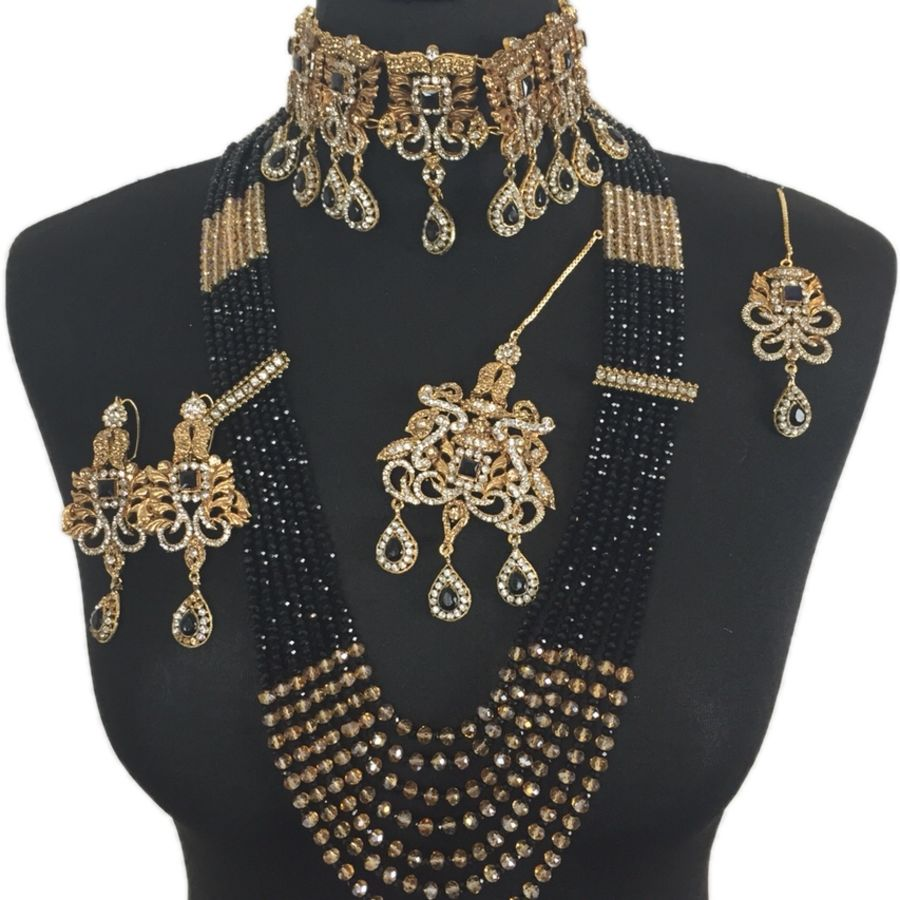 black pakistani bridal jewellery set BRD0342