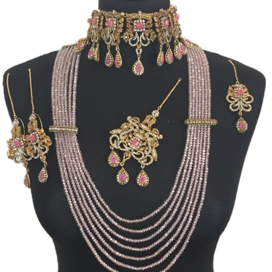 pink and golden pakistani bridal jewellery set BRD0344