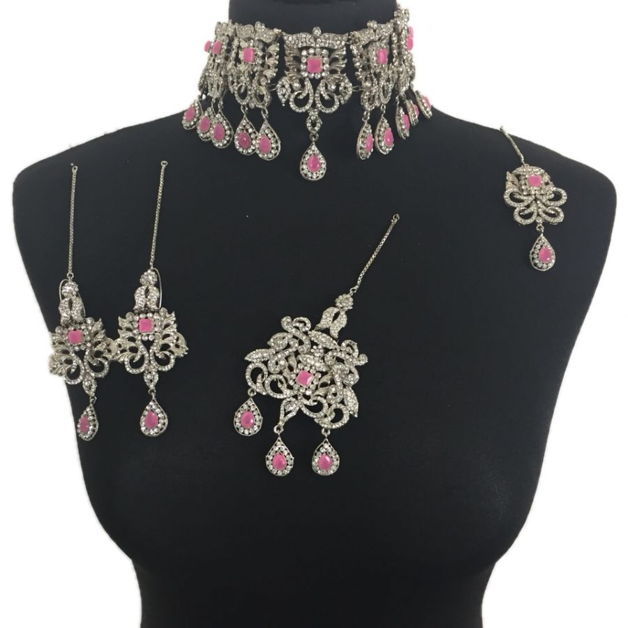 pink and silver pakistani bridal jewellery set BRD0347