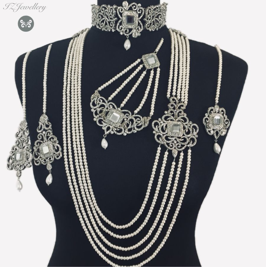 silver pakistani bridal jewellery BRD0356