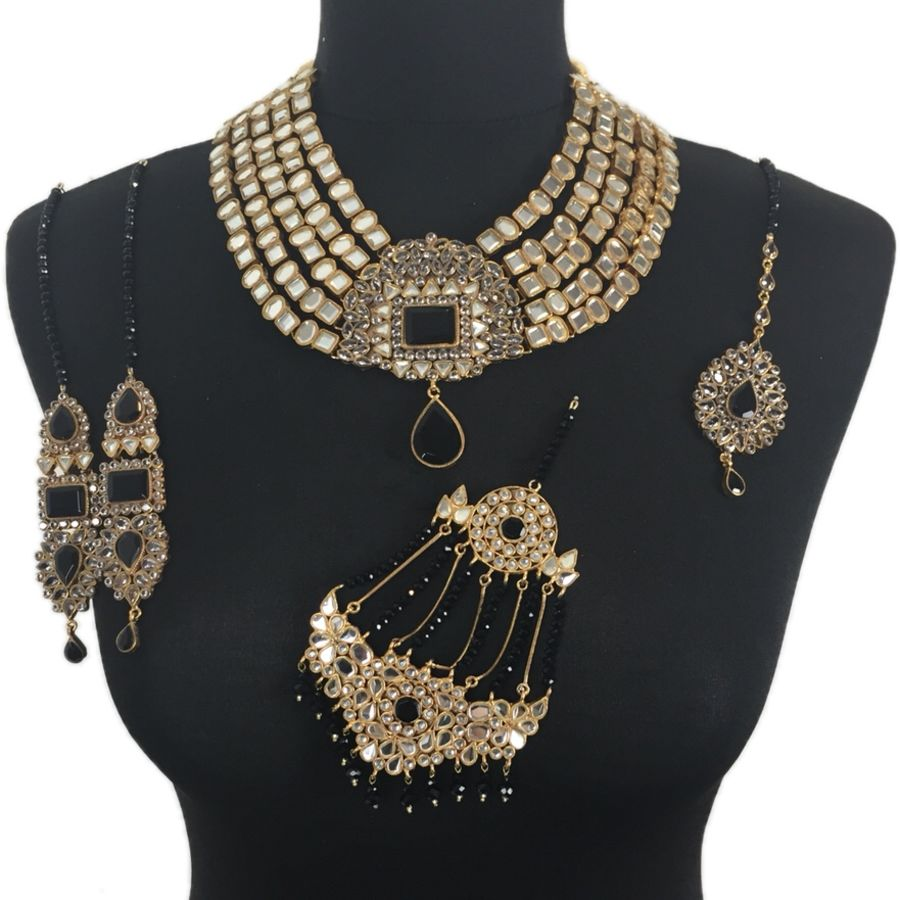 black kundan pakistani bridal jewellery set BRD0350