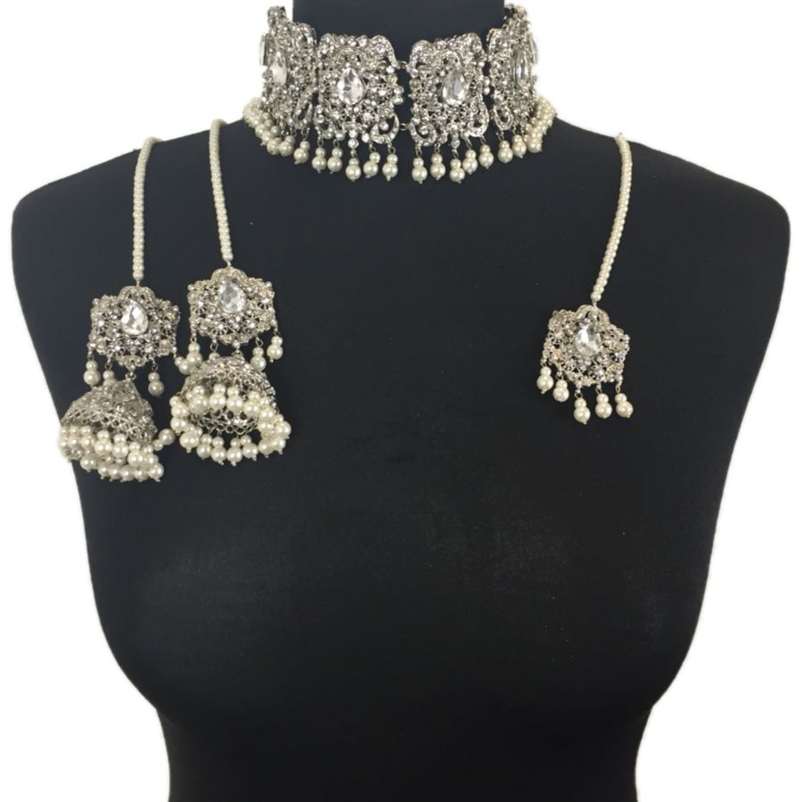 silver pakistani necklace set NCK0372