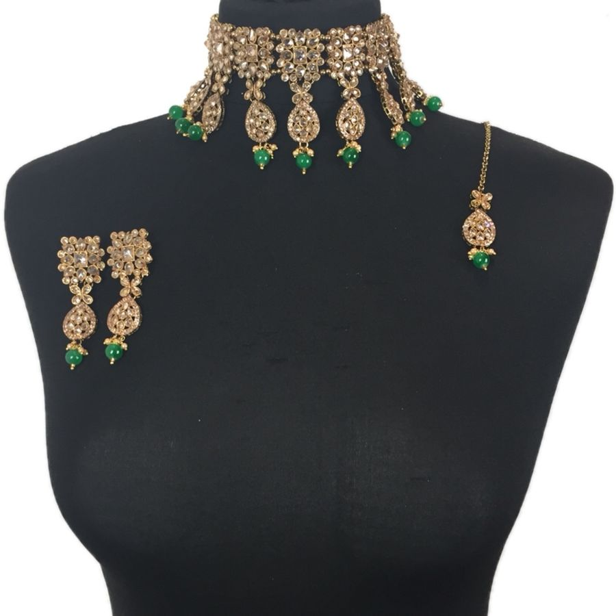 green asian choker set NCK0378
