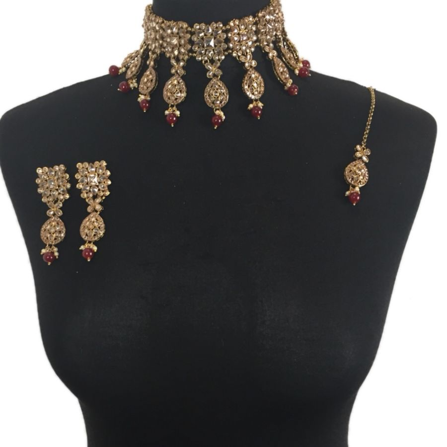 maroon asian choker set NCK0379