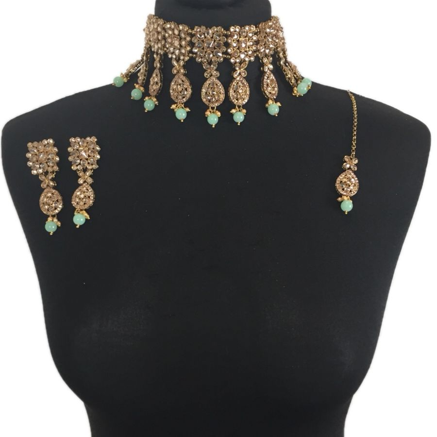 sea green asian choker set NCK0382