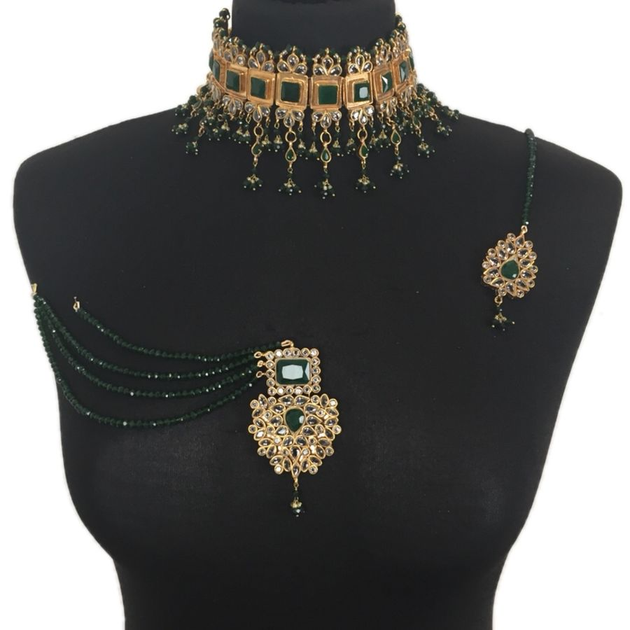 green pakistani kundan necklace set NCK0388