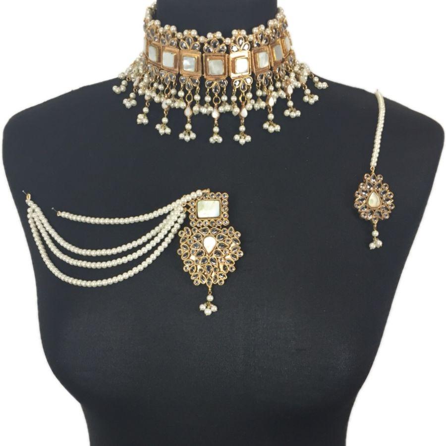 white kundan pakistani necklace set NCK0389
