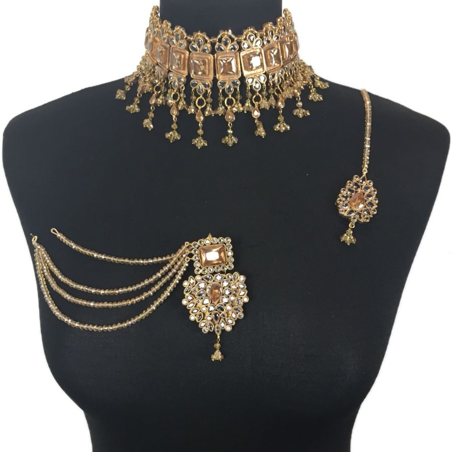 champagne kundan pakistani necklace set NCK0390