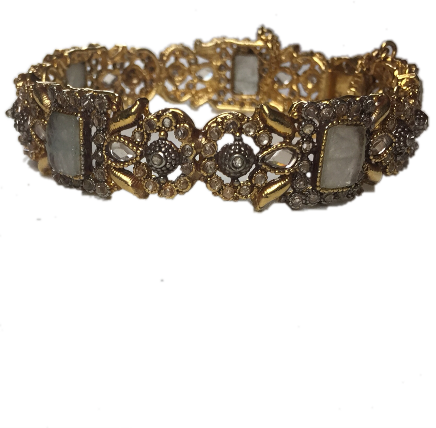grey and golden pakistani karra bangle BNG0323