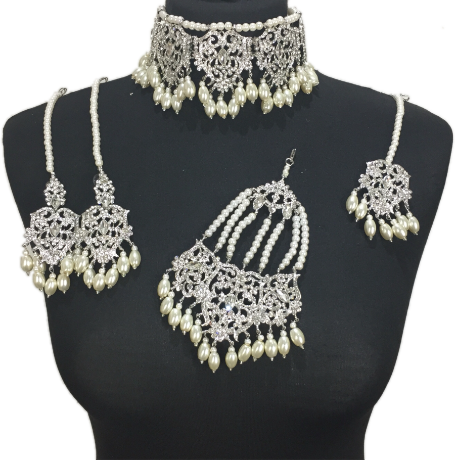 silver and pearl Asian jewellery set BRD0419