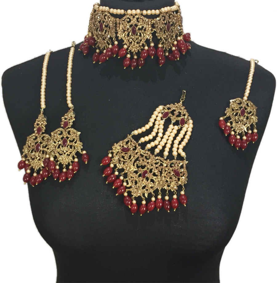 maroon & golden asianjewellery set BRD0422