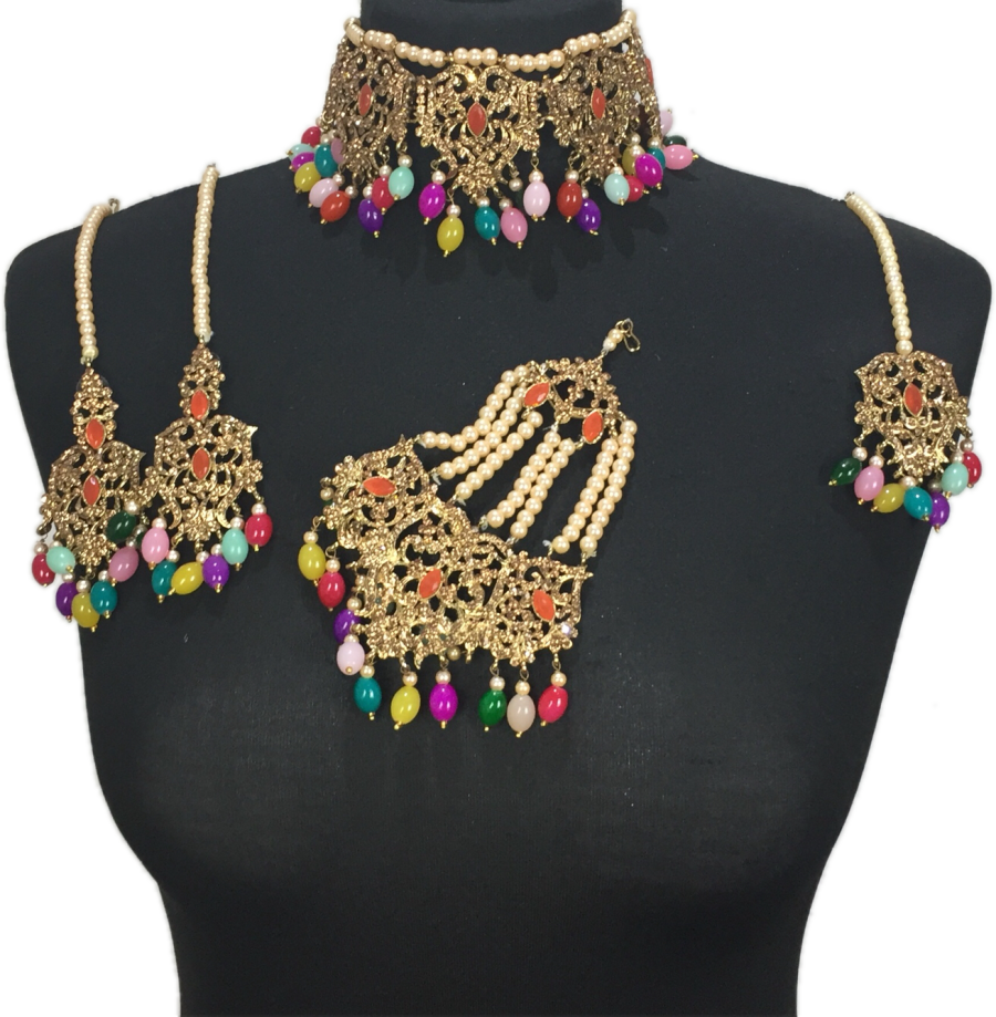 multicoloured mehendi jewellery set BRD0421