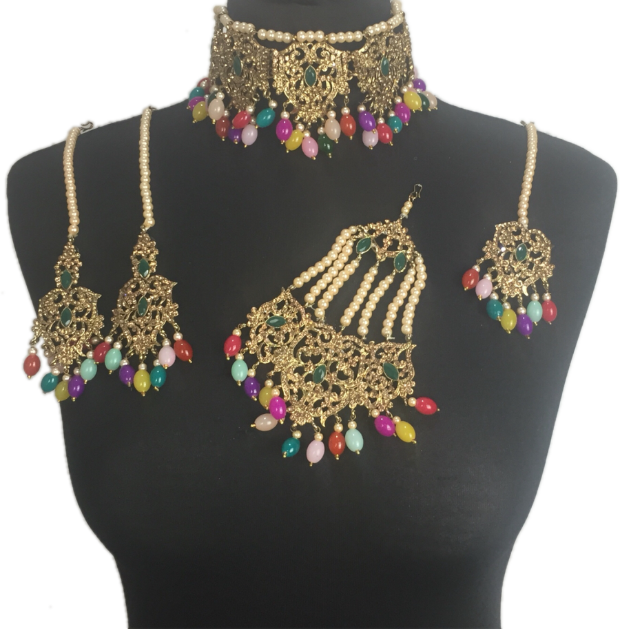 multicoloured mehendi jewellery set BRD0420