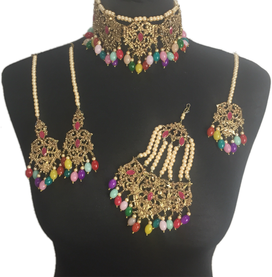 multicoloured mehendi jewellery set BRD0418