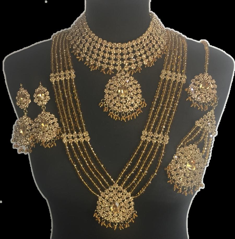 golden Indian bridal jewellery set BRD0359
