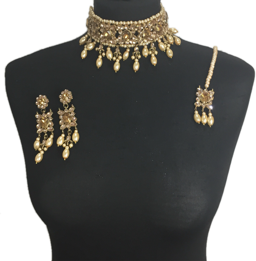 golden pearl Indian jewellery set NCK0401