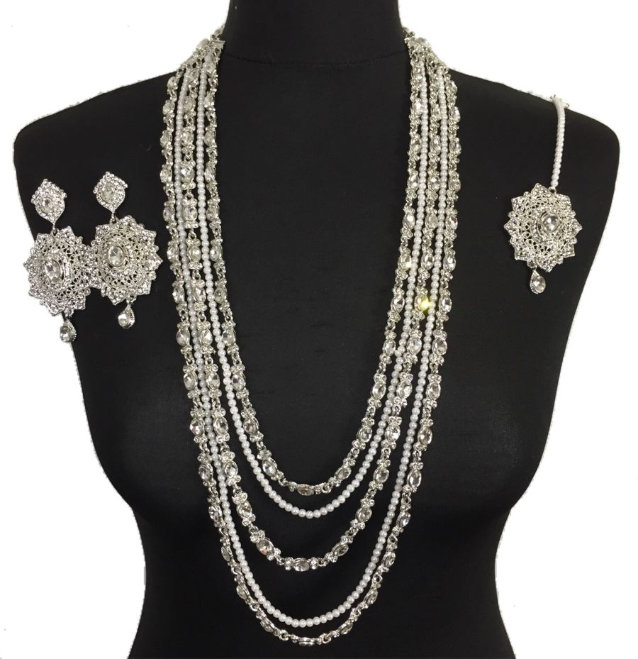 silver indian mala set NCK0408