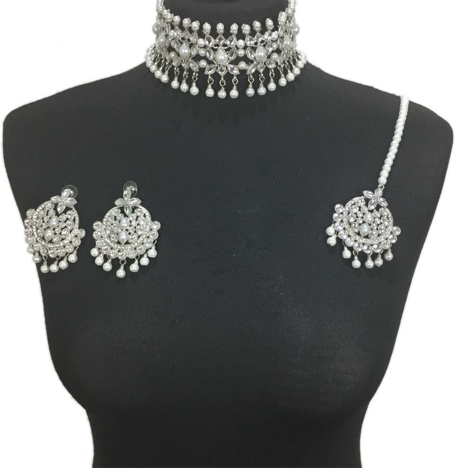 silver and pearl indian choker set NCK0411