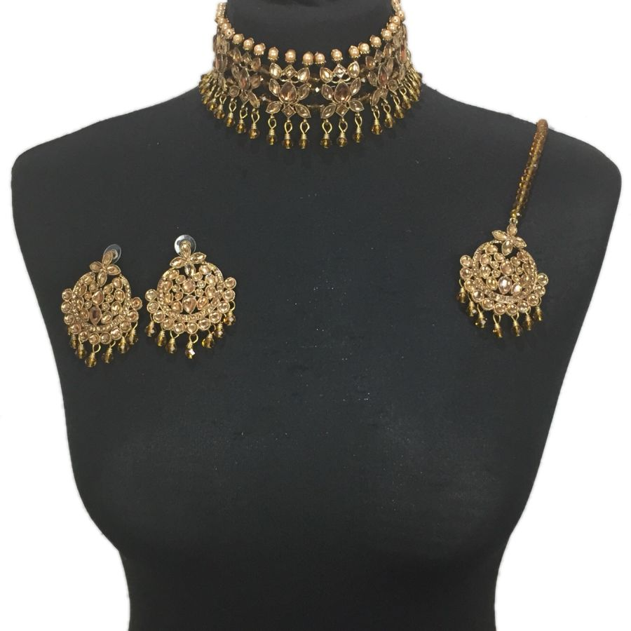 golden pearl choker set NCK0412