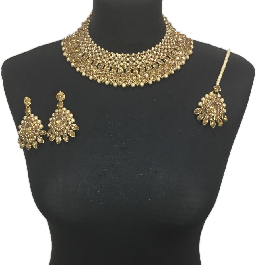 golden Asian collar necklace set NCK0414