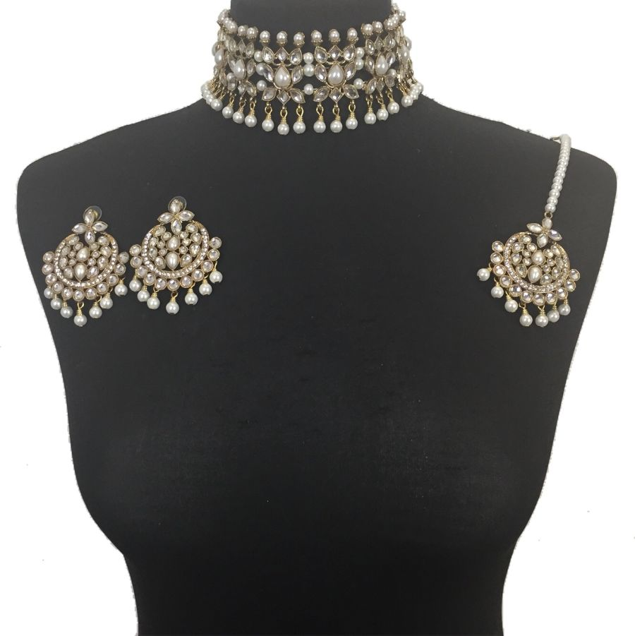 golden pearl pakistani choker set NCK0406